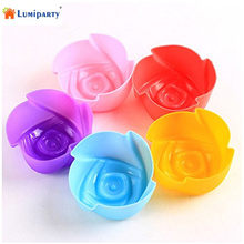 LumiParty 10 pcs Silicone Rosa Forma Cupcake Chocolate Jello Muffin Molde Do Cubo de Gelo Maker Modelo: 5 cm-30(China)