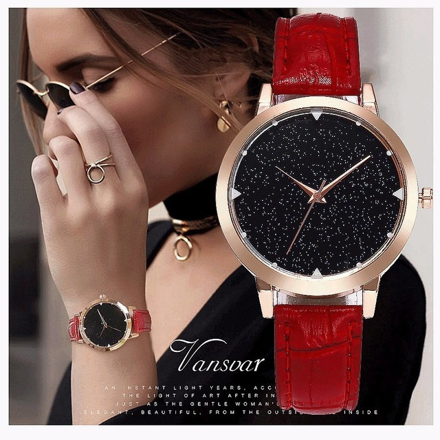 Vansvar Brand Women Watch Luxury Casual Simple Quartz Clock For Women Leather St