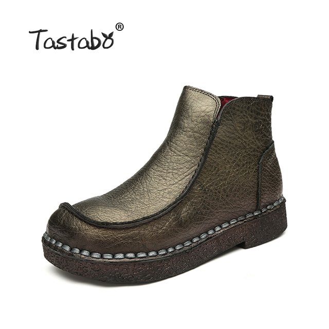 Tastabo 2017 Fashion Handmade Boots For Women Genuine Leather Ankle Shoes Vintage Mom Women Shoes Round Toes Martin Boots