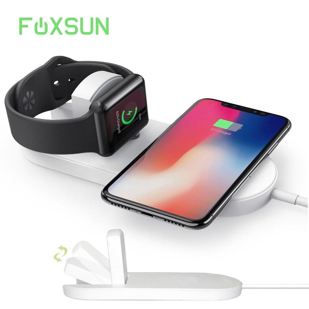 2 en 1 Qi chargeur sans fil pour Apple Watch Series 3/2 et iPhone X/iPhone 8/iPhone 8 Plus/Galaxy S8/S8 Plus/Note 8/S7 Edge