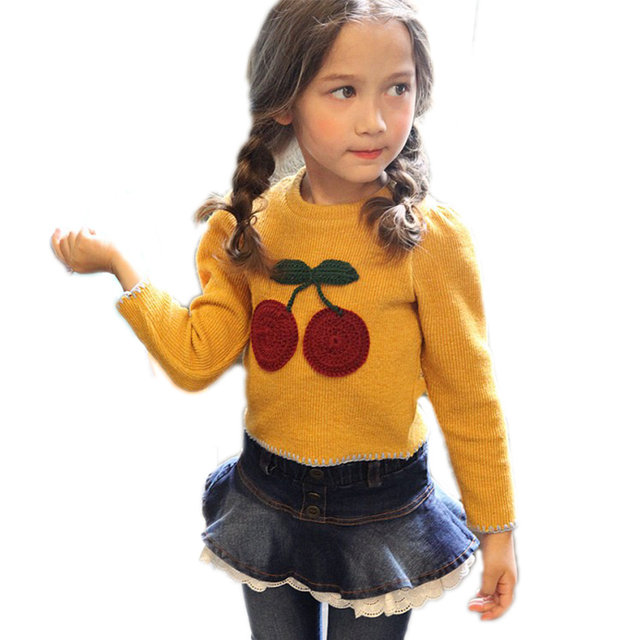Малыш свитер 2017new мода весна девушка свитера для детей вишня печатных вязаный свитер для девочек малышей девушки кардиган