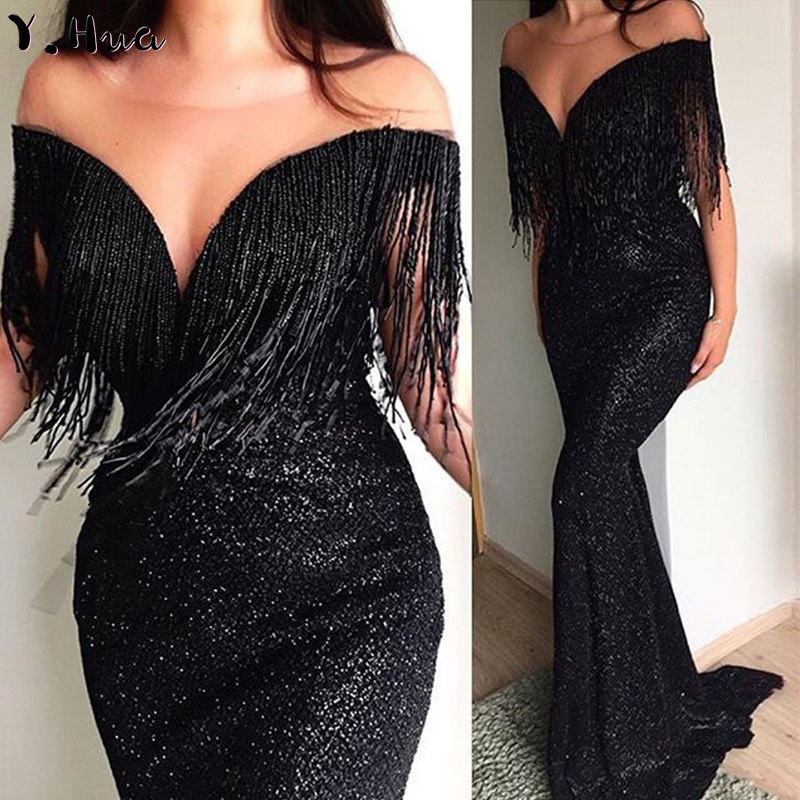 Y.Hua Long   Evening     Dress   Sexy V-neck Sleeveless Slim Mermaid Black Party Sequins Maxi   Dress   Tassel Robe De Soiree Longue