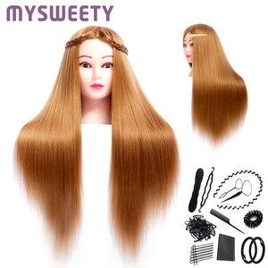 Tête de Mannequin synthétique longue dorée | Poupées mannequins de 24 pouces, coiffure de mariée professionnelle, formation de cheveux, tête de Mannequin épaisse et longue