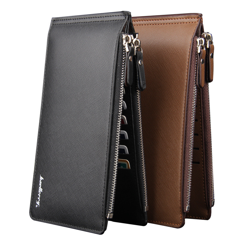 cross pattern PU Leather Purses  Men Thin Long Clutch Wallet Double Zippers Silm Hasp Wallets Credit Card Holder Coin Purse lorways 016 stylish check pattern long style pu leather men s wallet blue coffee