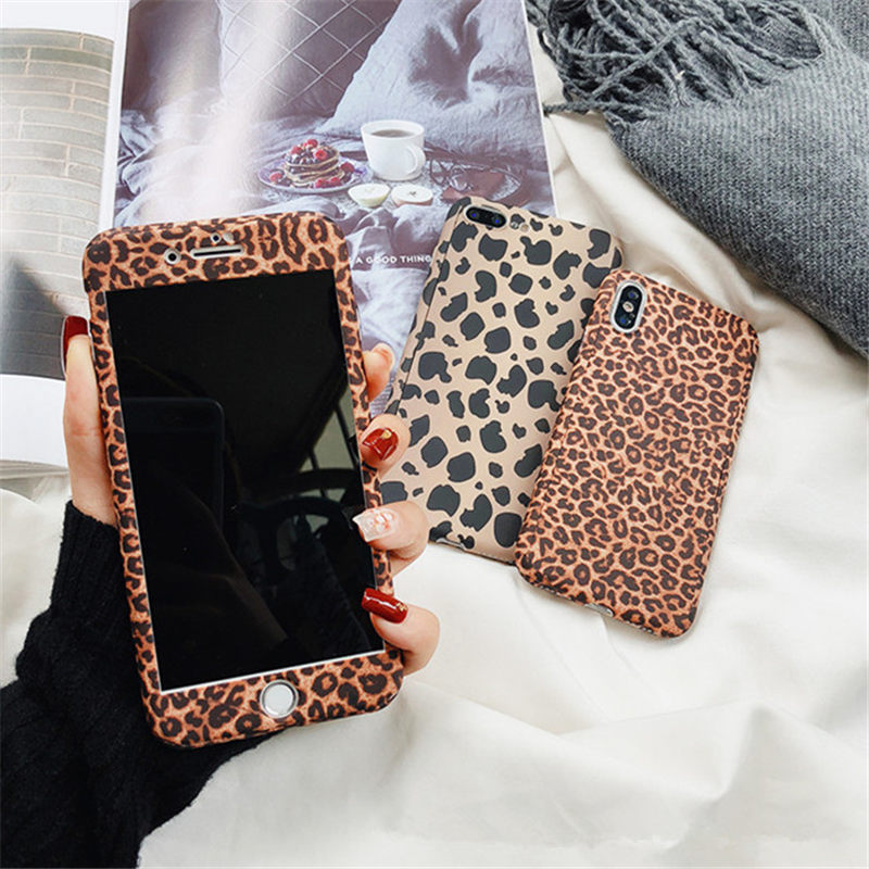 2019 Fashion Leopard 360 Full Degrees Case+Tempered Glass For iPhone X XR  XS Max 7 8 Plus(Buy 2 get extra 5% off,Buy 3 get extra 10% off,Buy 4 get