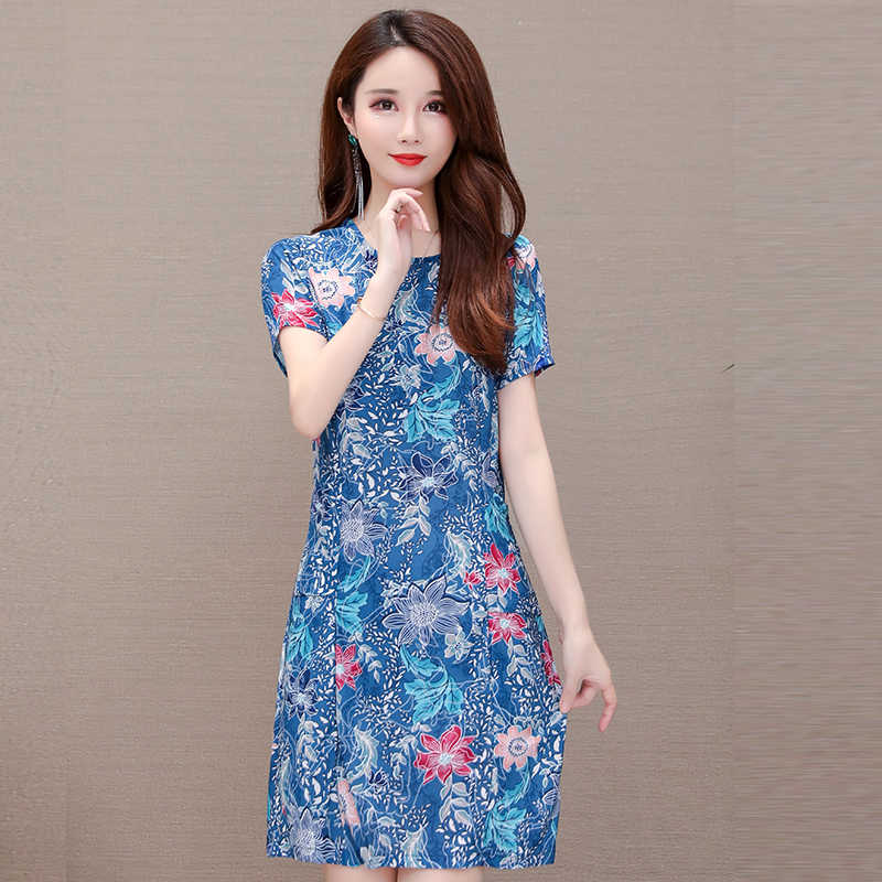 Summer T shirt  Women Dress Plus Size 6XL Sexy Floral Dress Elegant Casual  Bodycon Printed Stretch Chinese Style Dropshipping