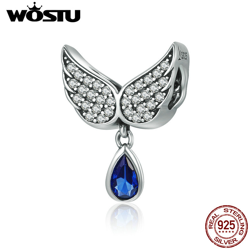 все цены на WOSTU Hot Sale Real 925 Sterling Silver Angel Wings Feather Pendant Charm fit Women Bracelet amp Necklace Jewelry Gift CQC481