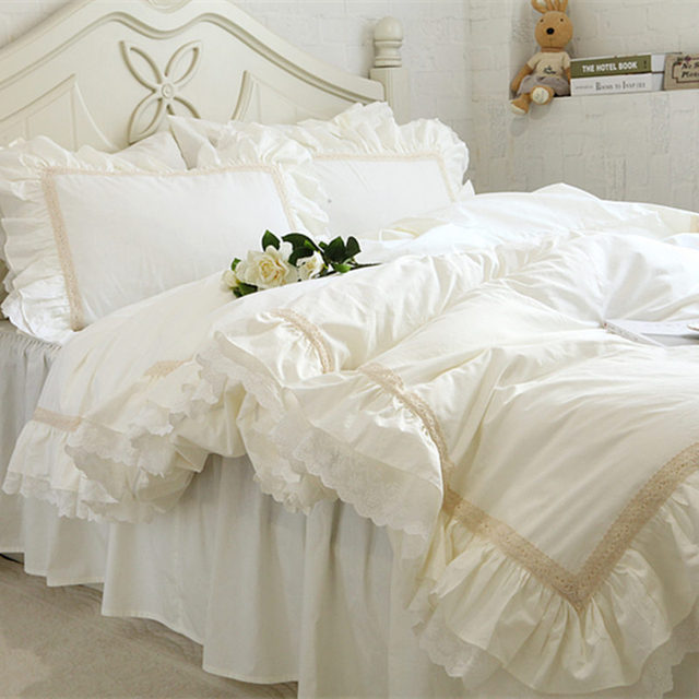 Luxury Embroidery bedding set beige lace ruffle duvet cover ... : beige quilt cover - Adamdwight.com