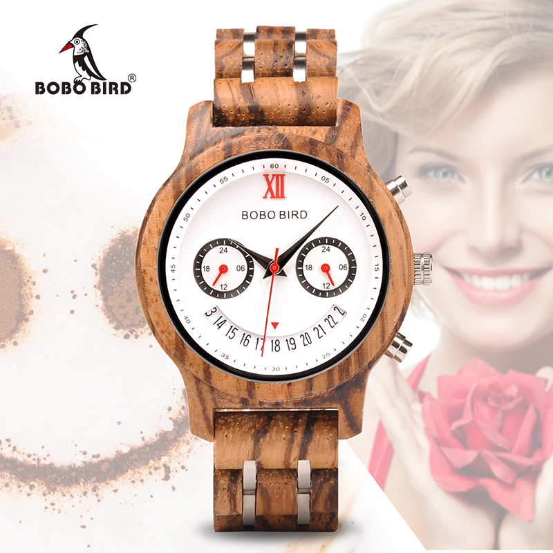 BOBO BIRD Lover's Wood Watches Smiling face Quartz Wristwatch With Date OEM Watch relojes hombre V-Q14 oem relojes hombre relogio lcd dz6217 dz7080