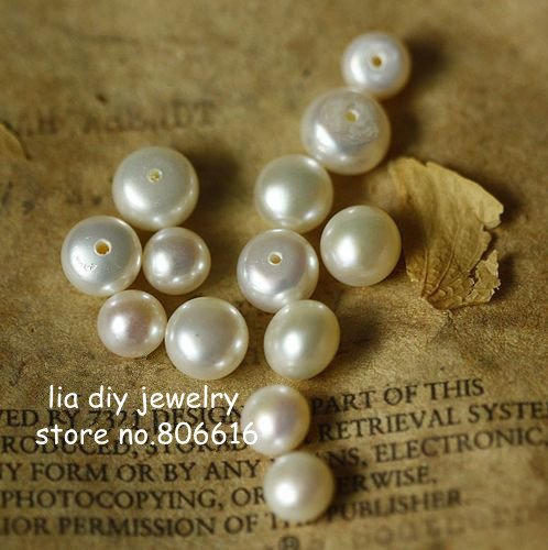 5.5MM 30Pcs Natural Freshwater Pearl Bead (with hole No Earring Pin) Jewelry Earrings Beads Findings & Components