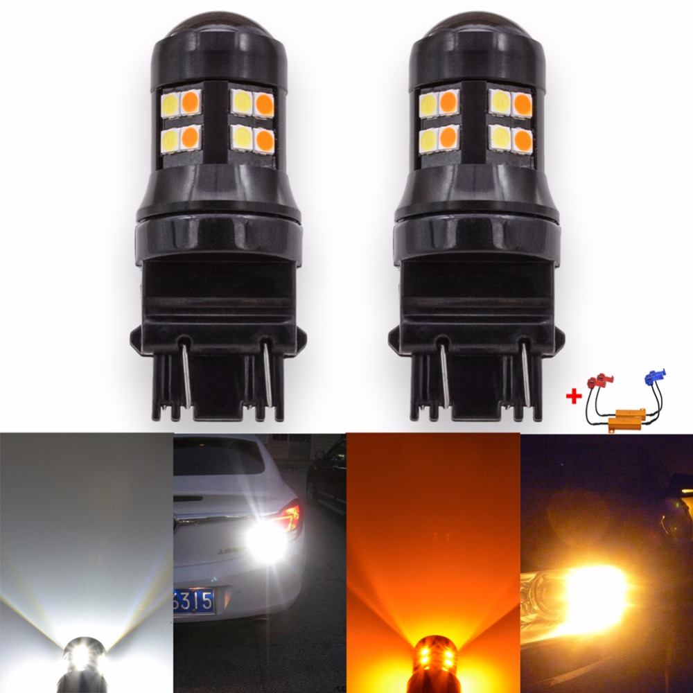 Katur 2x Canbus Error Free T25 3157 Switchback LED Dual Color Bulb Turn Signal Light Amber/Yellow White P27 Led 12V No OBC Error