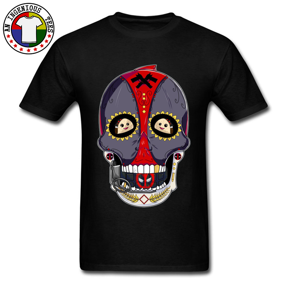 Tees Deadpool Sugar Skull 1226 T-Shirt Summer Fall Company Normal Short Sleeve All Cotton Round Neck Men's T-Shirt Normal Deadpool Sugar Skull 1226 black