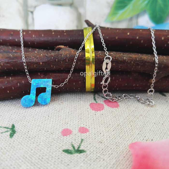Free Shipping 12mm OP06 Light Blue Synthetic Musicnote Opal Necklace 925 Sterling Silver with wholesale price sale on Aliexpress