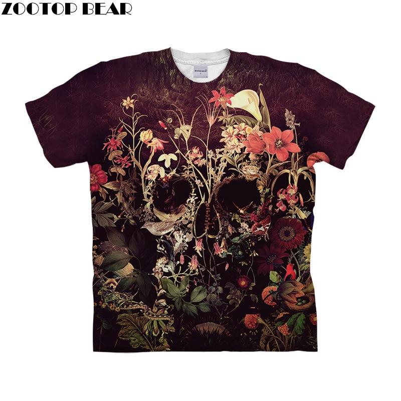 Flower Skull by ALI Art T-shirts Men Short Sleeve Women tshirt 2019 Summer O-neck Short Sleeve Tees Tops Drop Ship ZOOTOP BEAR