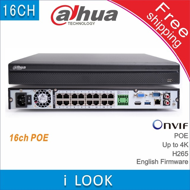 Free shipping Dahua DH NVR4216 16P HDS2 replace NVR4216 16P 4KS2 16CH POE NVR H265 4K 8MP network vedio recorder IP camera cctv
