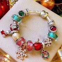 Новый 100% стерлингового серебра 925 Зимний Рождественский браслет набор Снежинка кукла яблоко подарок кристалл стекло Гламурные женские ори