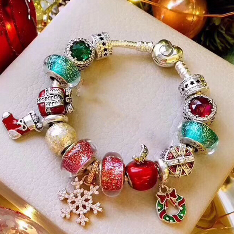 NEW 100% 925 Sterling Silver Winter Christmas Bracelet Set Snowflake Doll Apple Gift Crystal Glass Glamour Women OriginalNEW 100% 925 Sterling Silver Winter Christmas Bracelet Set Snowflake Doll Apple Gift Crystal Glass Glamour Women Original