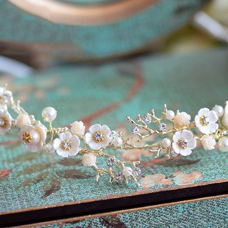Vintage Handmade Sweety Floral Crystal Rhinestone Pearl Bridal Hairband Elegant Wedding Party Hair Decoration Headpiece Hairwear