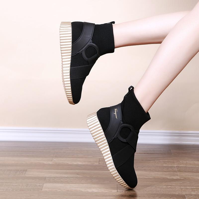 Printemps Mode 2018 Femmes De Maille forme Sneakers Coins ever Casual Plate Pour Nouveau White Chaussures Plat Yd Bottes golden qtzF5wF