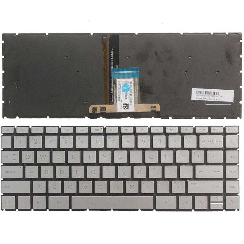 Nouveau clavier d'ordinateur portable us pour HP pavillon 14-CE 14-ce0064st 14-ce0068st 14-ce0008ca avec clavier argent rétro-éclairé