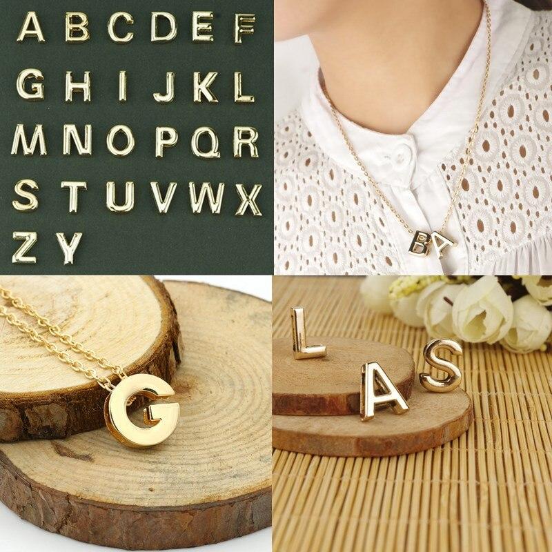 Sale Golden Women Alphabet 26 Letters Pendant Necklace Couple Freindship Unisex Clavicle Chain