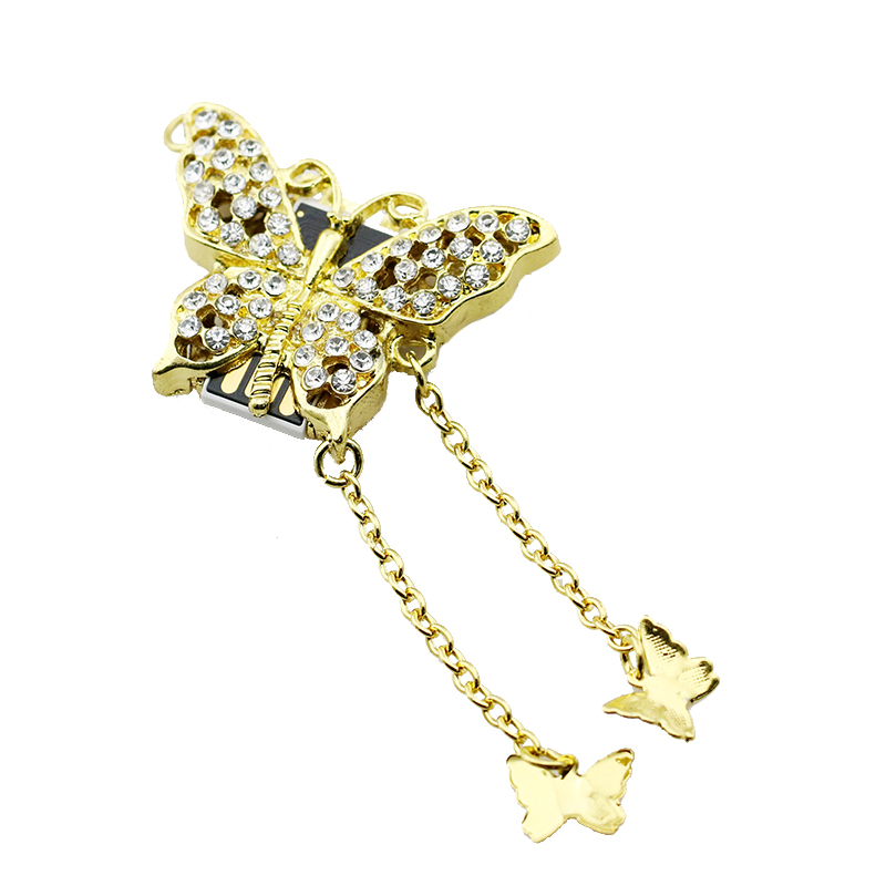 Full capacity flash drive 16gb pen drive 32gb crystal butterfly USB flash drive 4GB memory stick