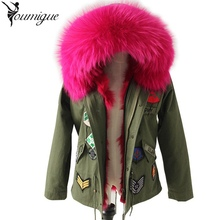 YOUMIGUE New women winter parka US military embroidery raccoon fur collar hooded coat outwear fox fur lining jacket brand bomber