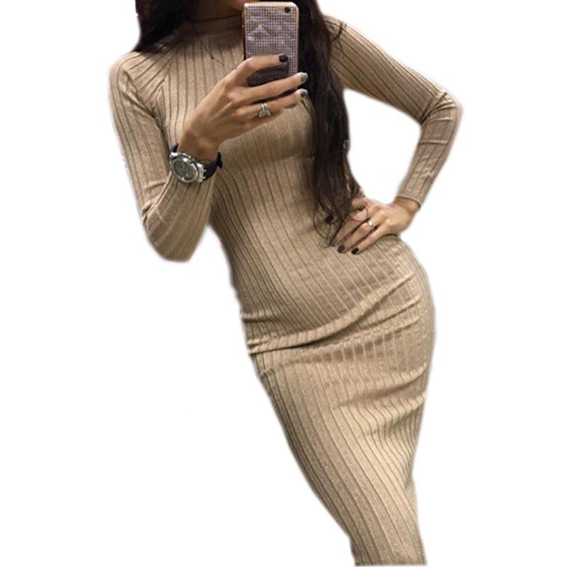 Sexy Midi Sheath Bodycon Dress Women Slim Solid Knitted Dress Long Sleeve Elegant Package Hip Office
