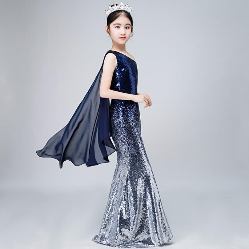 Luxury Princess Mermaid Dress Sequined Kids Pageant Gown