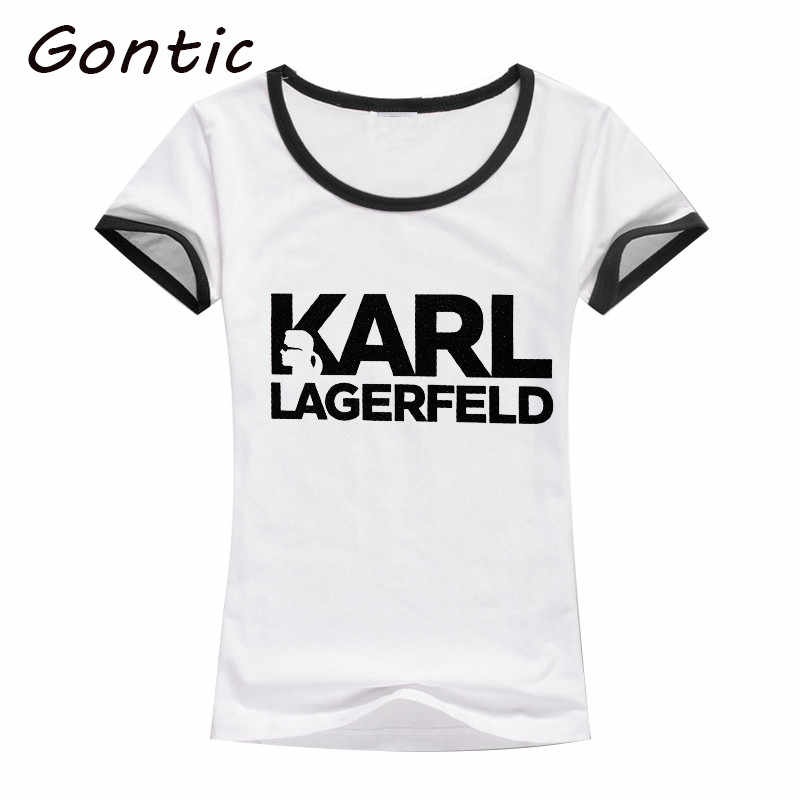 KARL WHO letter T Shirt Women plus size Harajuku Summer printed top short sleeve casual Female fashion punk rock street wear