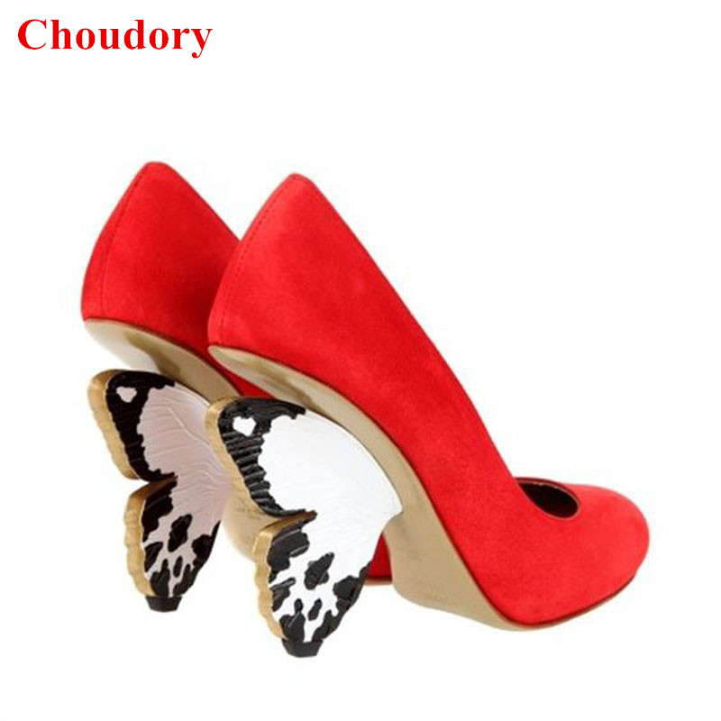 Fashion Women Flutterby Shoes Luxury Round Toe Hand Painted Wing Shaped Butterfly Heel Red Party Pumps Women Shoes Feminina Pump lucamino sports wooden wing chun butterfly double swords training knife bart cham dao red black colors 1 pair wholesales
