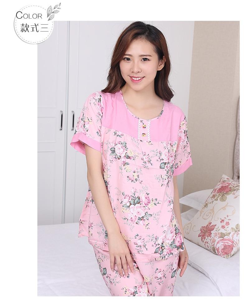site réputé f5630 5a401 US $16.36 49% OFF|Fdfklak Summer New Short Sleeve Print Cotton Sleepwear  Set Pyjama Coton Femme Woman Pijama Set Tracksuit Pijamas Mujer E0857-in ...