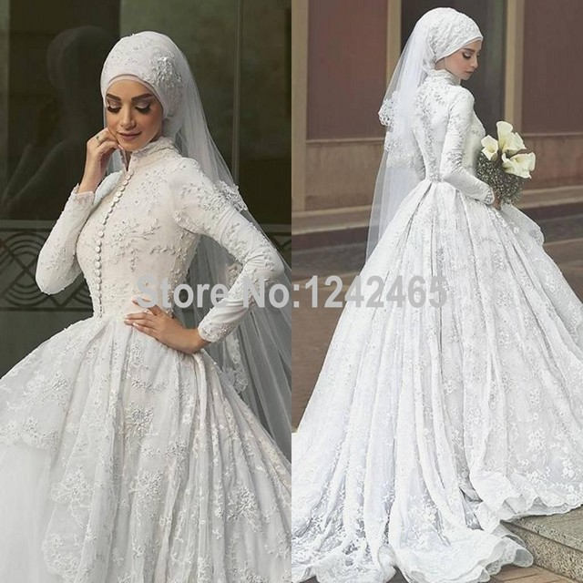 b0d2d599327 Puffy Ball Gown High Neck Robe De Mariage Hijab 2016 Long Sleeve Arabic  Muslim Lace Wedding Dresses Custom Made MC179