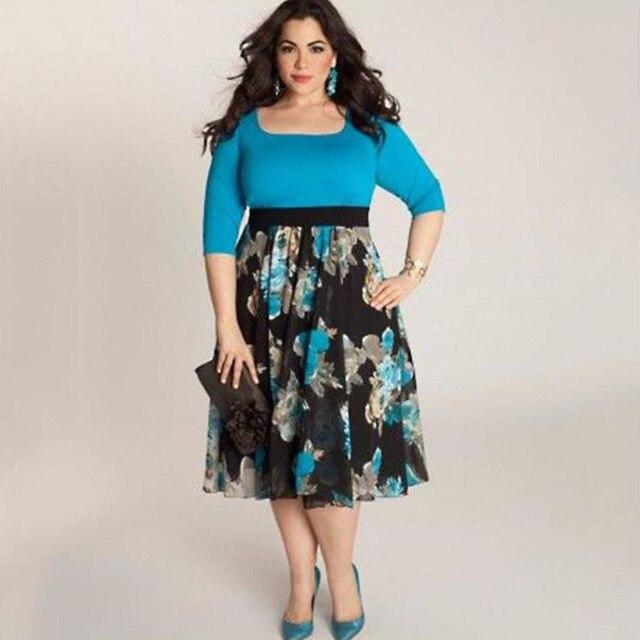 Large Size 6XL Ladies Summer Dress Floral Printed Half Sleeve Ladies Vestidos Party Women Elegant Girls Plus Size Dress P30