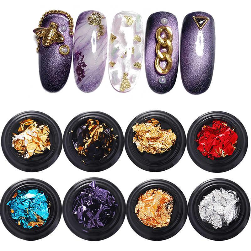 12 colores arte de uñas colorido brillo aluminio láminas 3D escamas pegatina UV Gel polaco cubierta completa láser DIY decoración de uñas herramientas