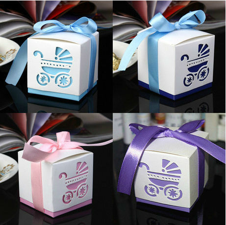 50pcs Laser Cut Carriage Gift Candy Boxes Wedding Favors and Gifts Baby Shower Party Decoration-1