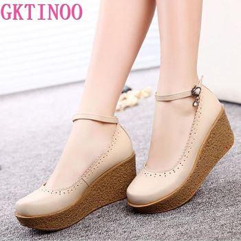 Женские туфли из натуральной кожи на платформе, черные, бежевые удобные дышащие туфли-лодочки размера плюс 34-42