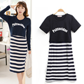 1PC Summer Letter Stripe Maternity Nursing Dresses Nursing Clothes Casual Knee-Length Boat Neck Pregnancy Dresses Tops 1508