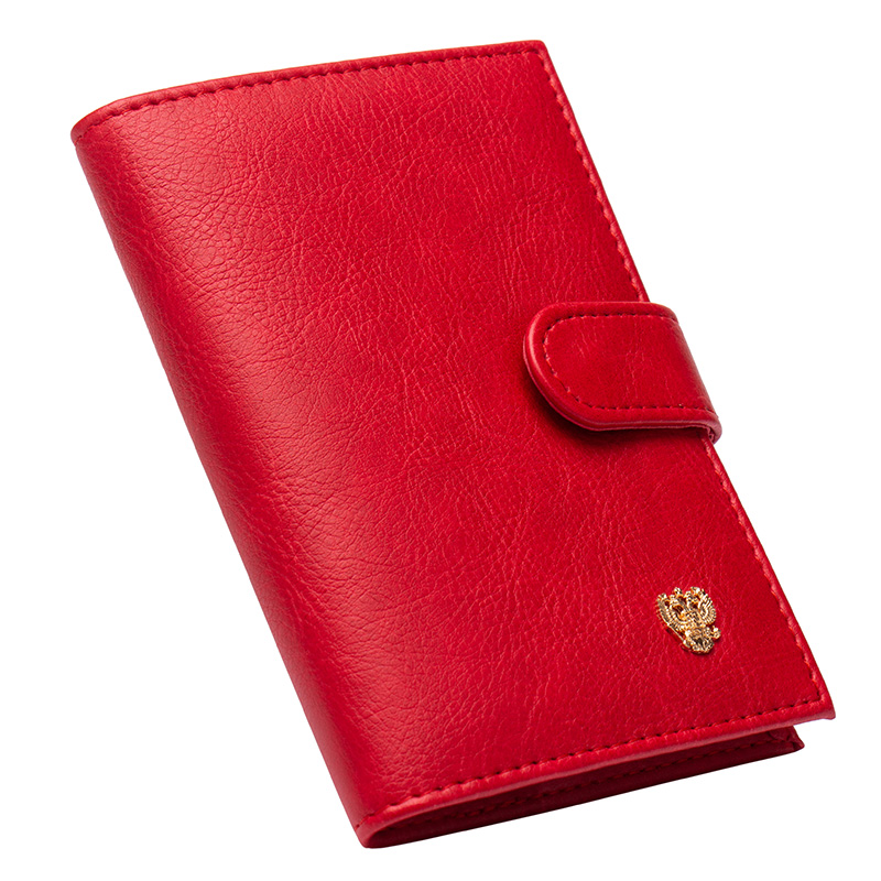 custom Available Making Things Convenient For Customers Reasonable Solid Oil Dark Red Buckle Pu Leather Passport Holder Built In Rfid Blocking Protect Personal Information