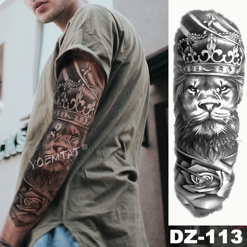 Large Arm Sleeve Tattoo Lion Crown King Rose Waterproof Temporary Tatoo Sticker Wild Wolf Tiger Men Full Skull Totem Tatto 1