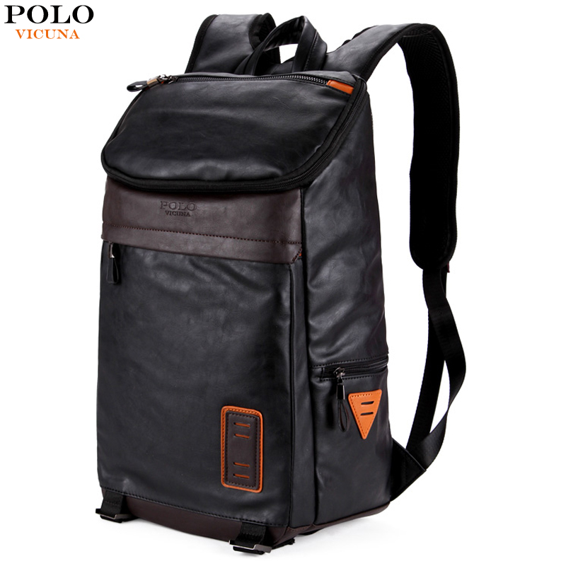 VICUNA POLO Casual High Quality Leather Man Backpacks Fashion Large Capacity Men Backpack mochilas Patchwork Men's Laptop Bags large capacity casual man backpack
