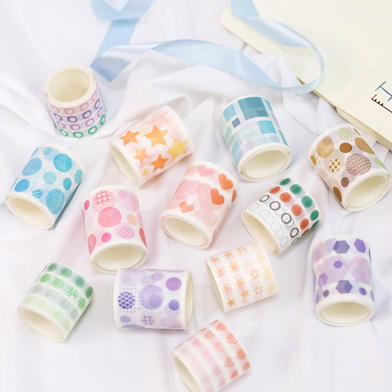 Colored Dots Flowers, Stars, Love Washi Tape DIY Decoration Scrapbooking Planner Masking Tape Adhesive Tape Label Sticker