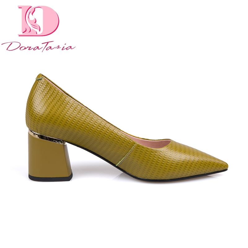 Doratasia 2019 Ins style genuine leather classic pointed toe elegant women s Shoes chunky heels office
