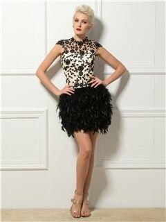 Коктейльные платья-сексуальная с коротким перья и аппликации - Цвет: Same As The Picture