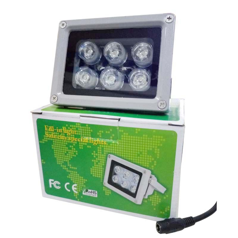 Outdoor Waterproof Surveillance Infrared White 6pcs Array Led IR illuminator Night Vision Fill Light Lamp Free