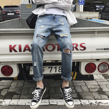 Hole Jeans Men 2019 New Fashion Wash Casual Slim Denim Pants Man Streetwear Wild Hip Hop Straight Male Clothes S-3XL