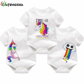 Unicorn Baby Clothing Sets White Print Newborn Children Rompers For Boy Fashion Winter Infant Baby Girl Boys Clothes For 0-12M