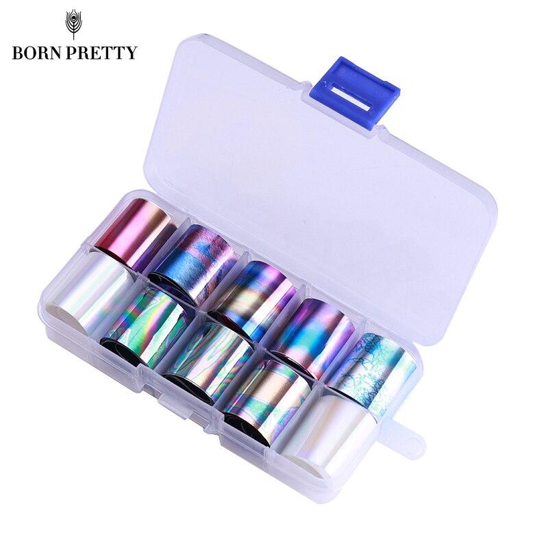 1 Caixa Holográfica Folha Prego Set 2.5*100 cm Transparente AB Cor Transferência Etiqueta Manicure Decalques Da Arte Do Prego