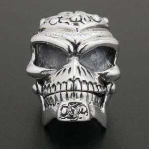 Image 2 - Solid 925 Sterling Silver Skull Mens Biker Pendant 8C011 With Matching Stainless Steel Necklace