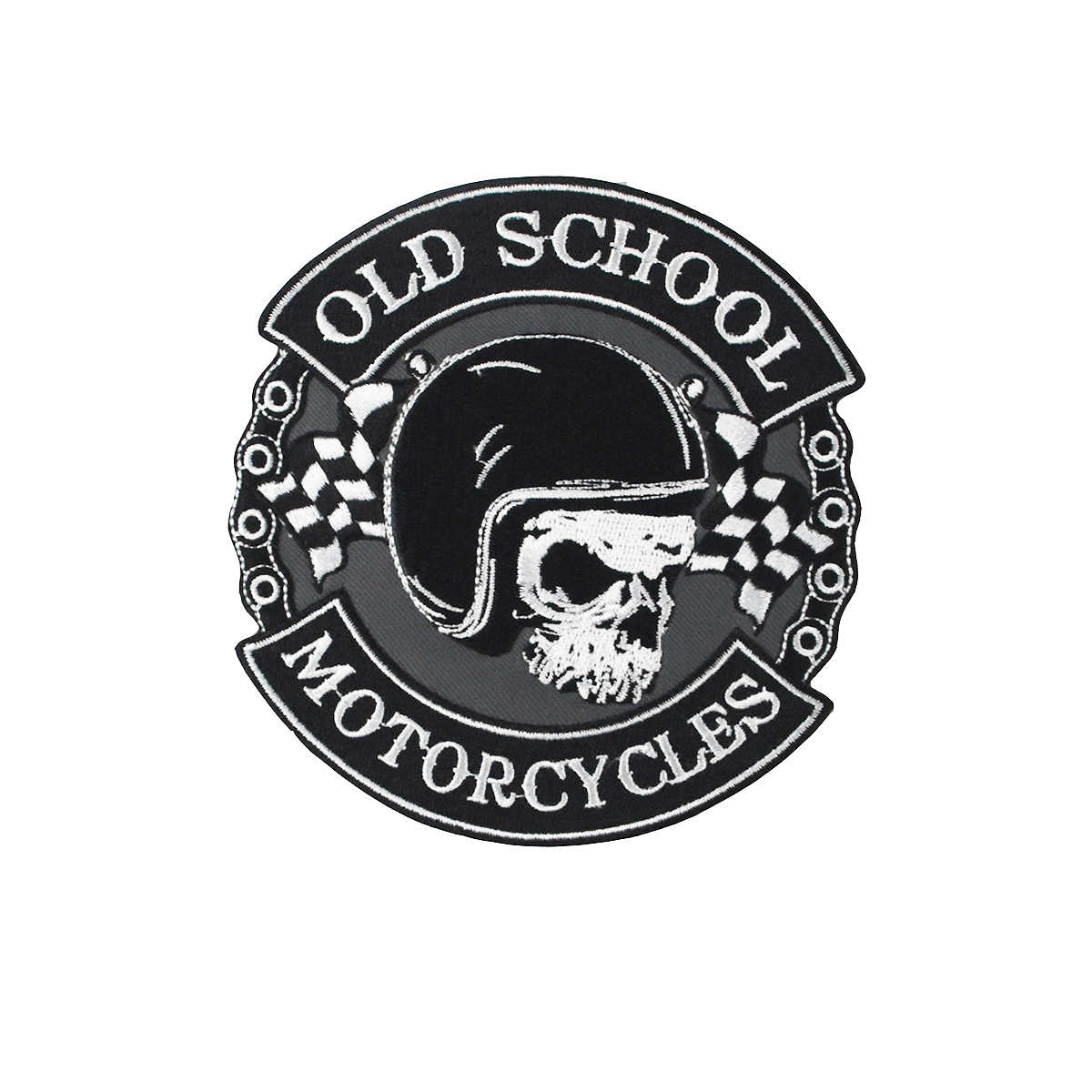 Old School Skull Patches embroidery iron on Motorcycle custom DIY cool biker patches punk badge heat transfer for clothing shirt